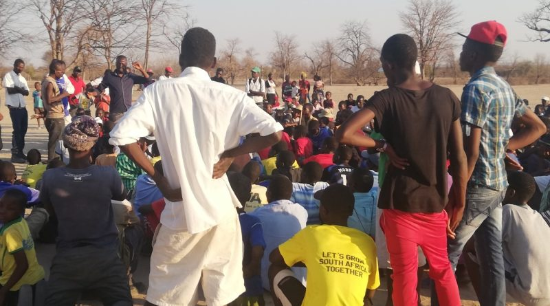 Jasper Maposa who is NPRC Midlands Youth member addressing youth in Gokwe Chitekete encouraging peaceful co-existence through sports